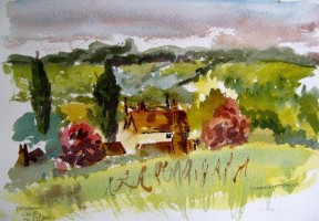 Over Dedham Vale - Watercolour