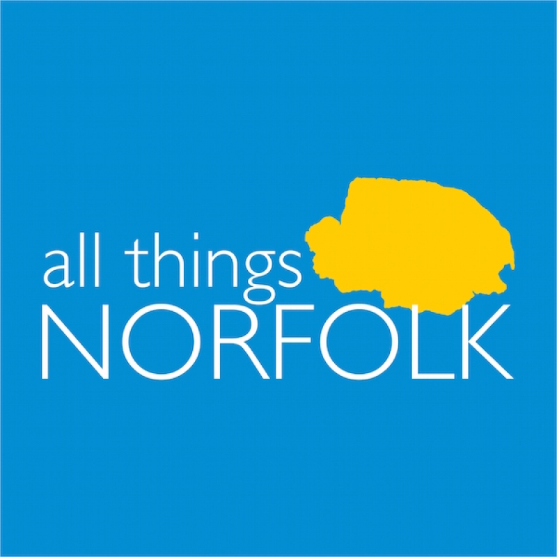 Simon Chapman, founder of All Things Norfolk (far right) at the launch of All Things Norfolk with Jake Humphrey (centre) and staff from Break (left)