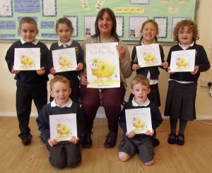 Author Sandra Derry with children from Kinsale Infant School