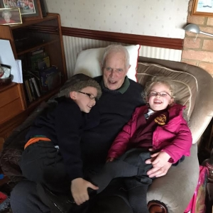 Sophie and Joe with their Grandad, Bill