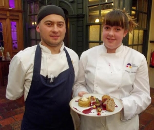 Marcin 'Magic' Pomierny Head Chef, Maids Head Hotel with Robyn Jackson and their Norfolk Knobbler Dish
