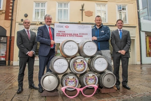 Martin Green, Fundraising Manager of children's charity Break (second right),  celebrates the success of Cat's Eyes ale with (L to R) Dipple & Conway Opticians' Group Manager Neil McDonald and Partners Damian Conway and James Conway.  Picture Credit Newsmakers