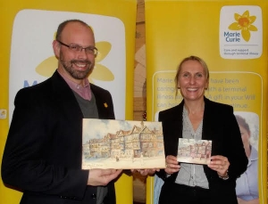 Hugo Stevenson, Marie Curie, holding the watercolour and Linzi Rawson, Sales Manager, Maids Head Hotel holding a modern postcard that was reproduced from a 1908 postcard.