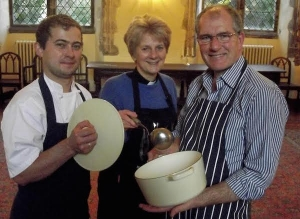 Marcin 'Magic' Pomierny, Head Chef Maids Head Hotel, The Dean of Norwich, the Very Reverend Jane Hedges and Chris Hedges in the Priors Hall