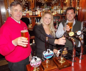 Marcus Patteson, Director Sistema in Norwich, Katherine Renhard, Food Services Manager Maids Head Hotel and Rupert Farquharson, Managing Director Woodforde's launching Murtel Fish Ale in the Maids Head Bar.