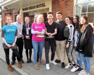 Italian Students Take Pancake Challenge at Maids Head Hotel